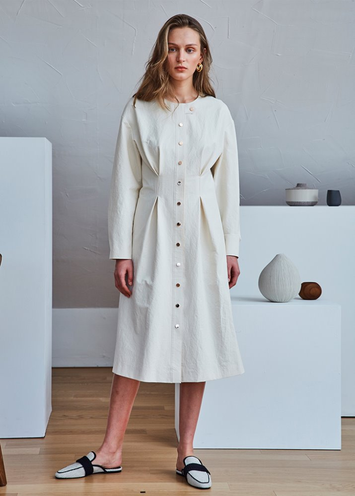 ROSEGOLD BUTTONS SHIRT DRESS_IVORY