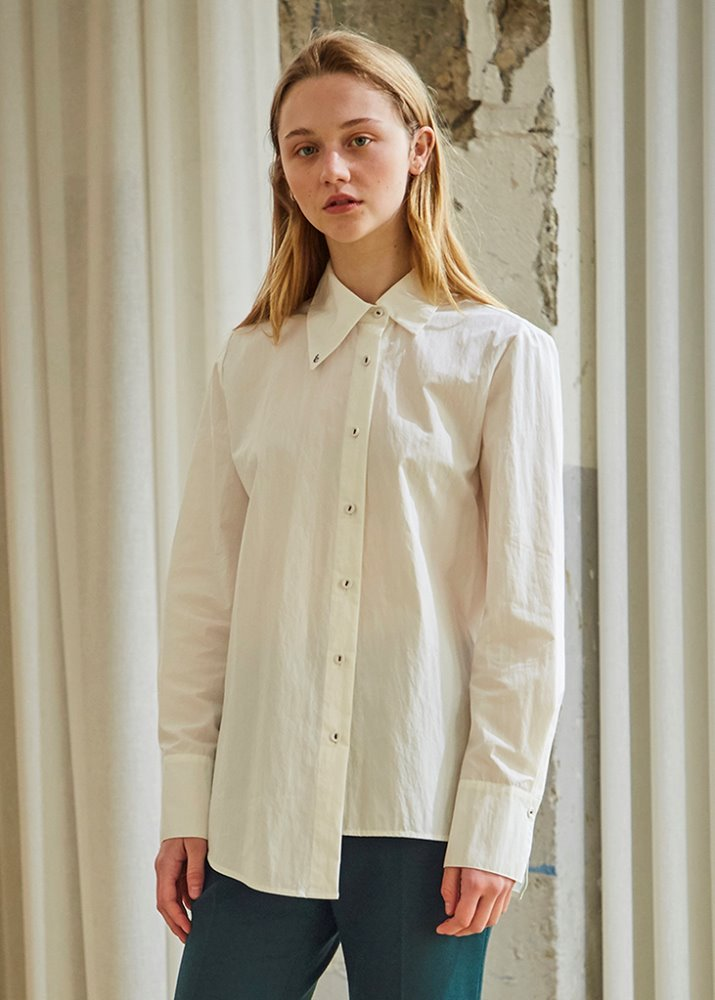 UNBALANCE EMBROIDERY SHIRT_WHITE