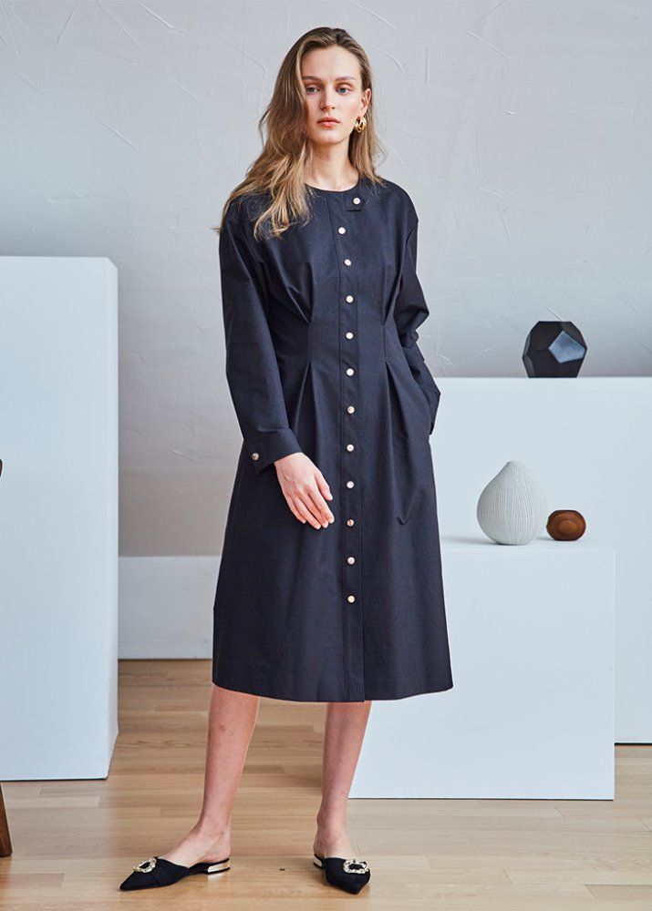 ROSEGOLD BUTTONS SHIRT DRESS_BLACK