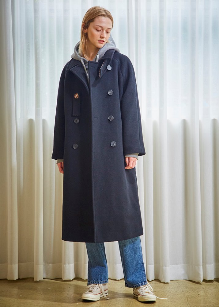 CHECK POINT WOOL COAT_BLACK