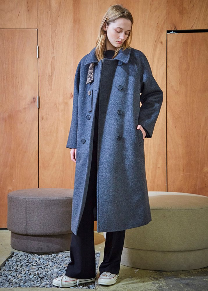 CHECK POINT WOOL COAT_GREY