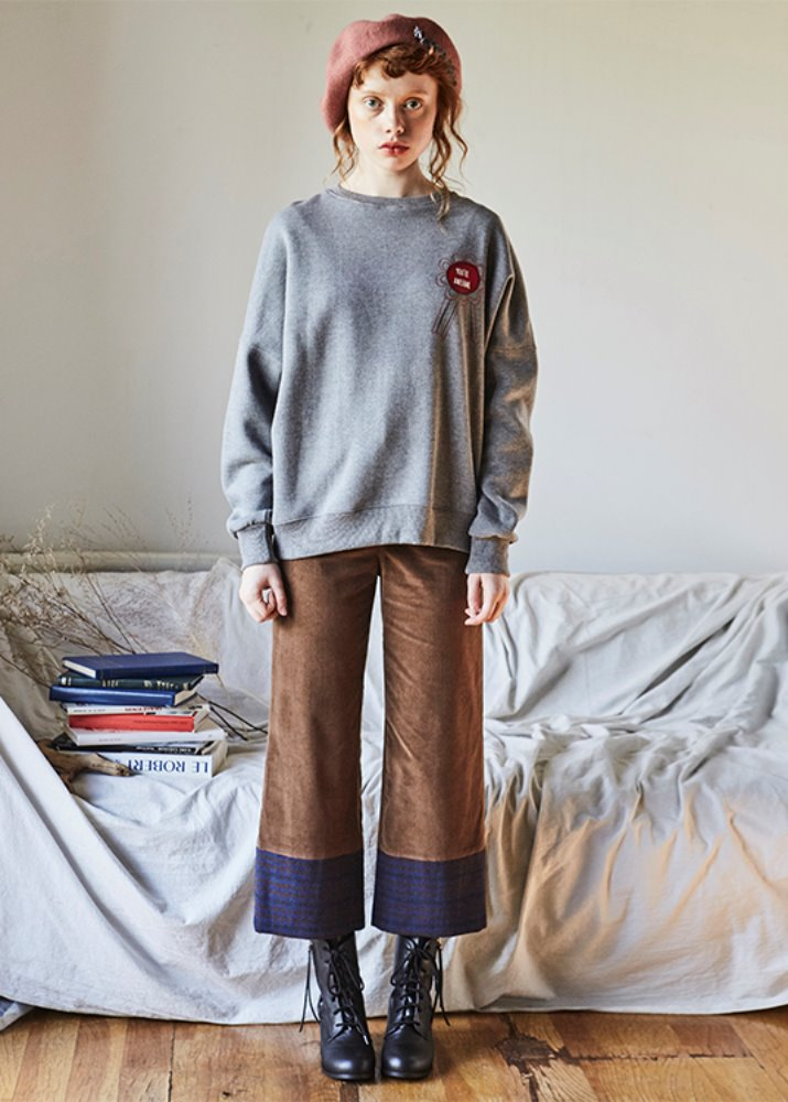 CHECK POINT CORDUROY PANTS_BROWN