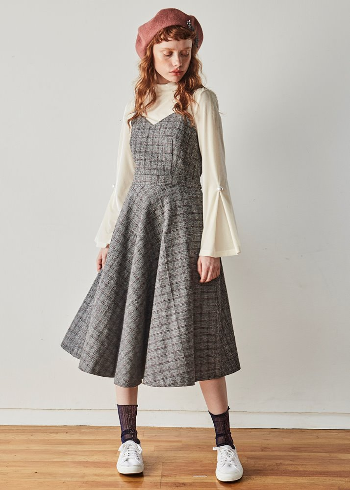 RIBBON CHECK LONG DRESS