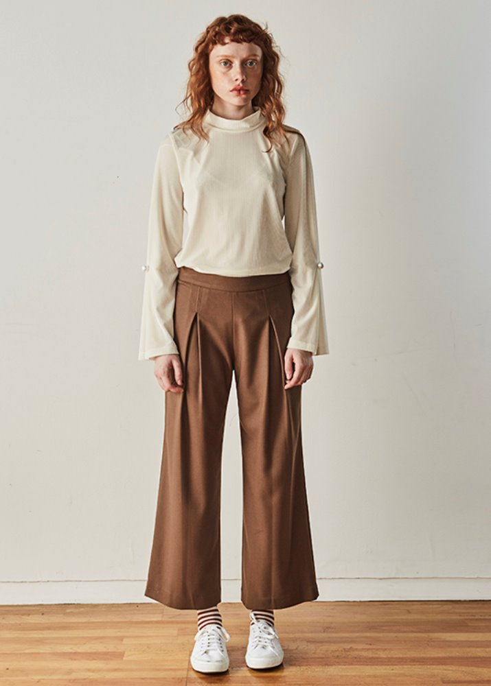 SIMPLE CULOTTES PANTS_Brown