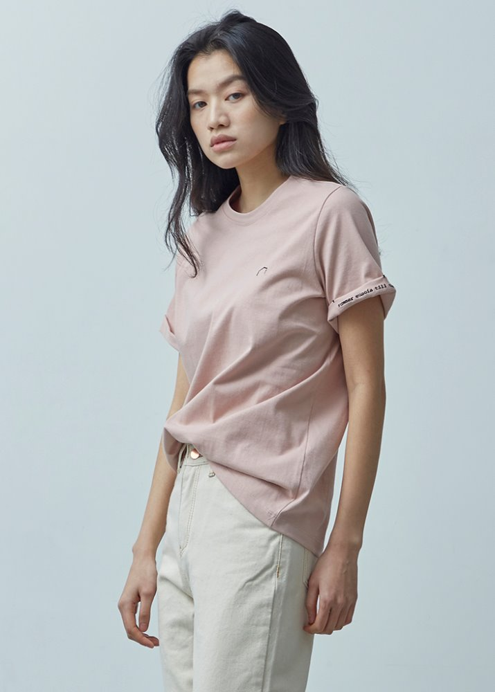 ROLL-UP SLEEVE TOP_PINK
