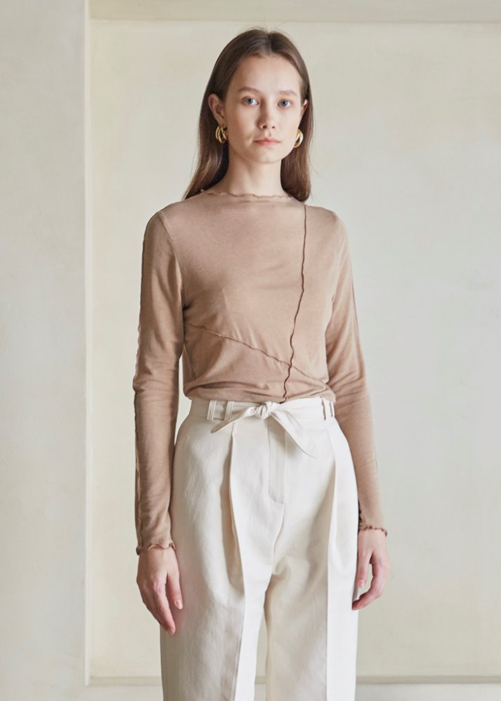 OUTSTITCH TENCEL T-SHIRT_BEIGE