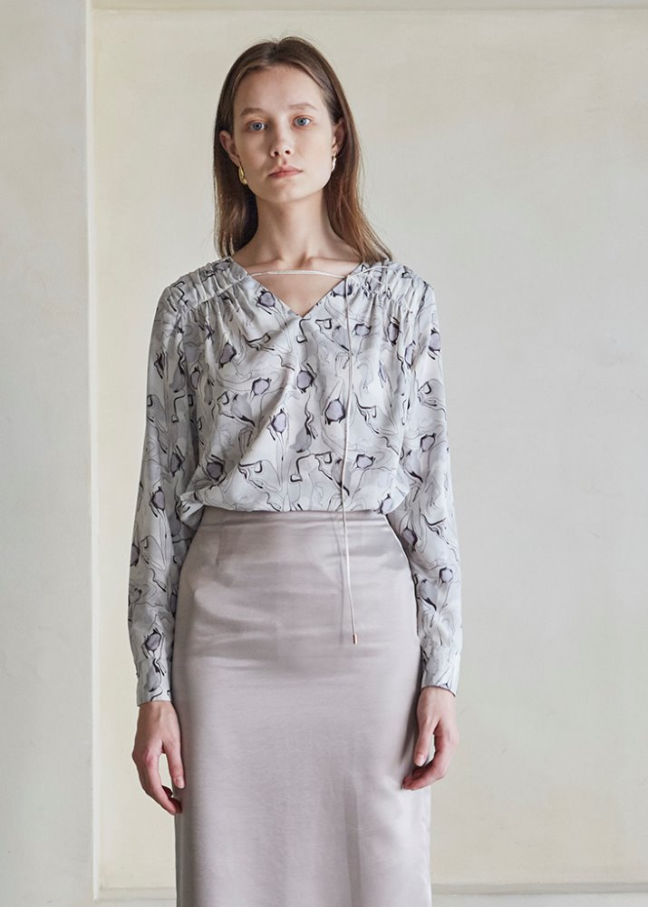 STRING V-NECK MARBLE BLOUSE_GRAY