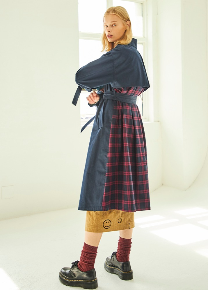 CHECK POINT TRENCH COAT_NAVY