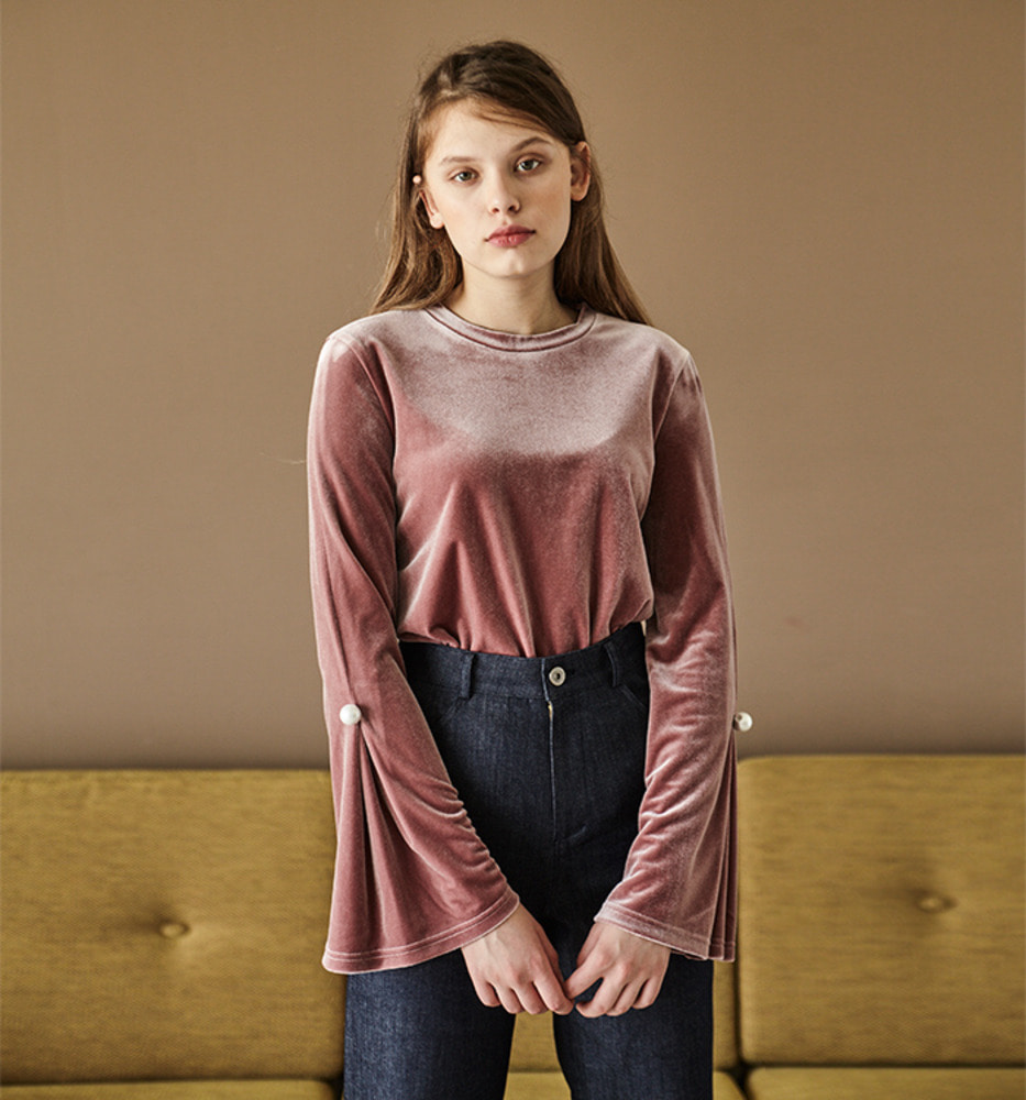 VELVET PEARL BUTTON TOP_Pink