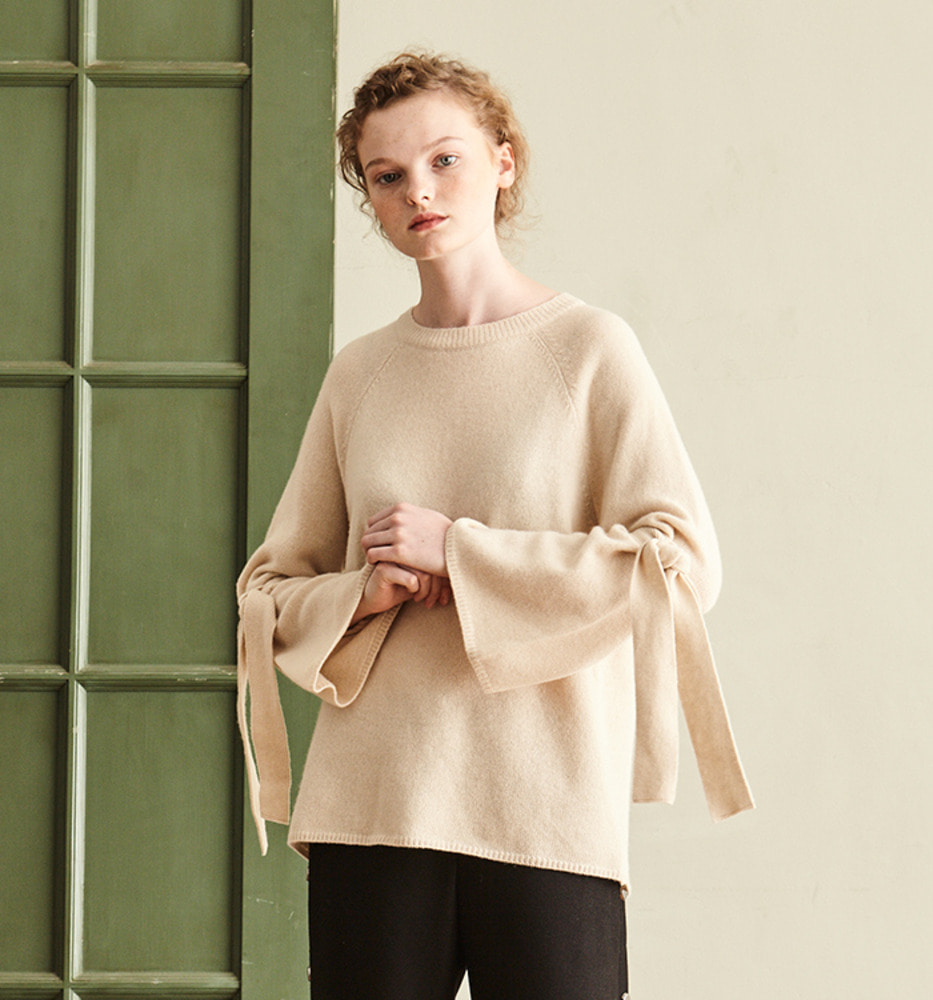 BELL SLEEVE RIBBON KNIT_Ivory
