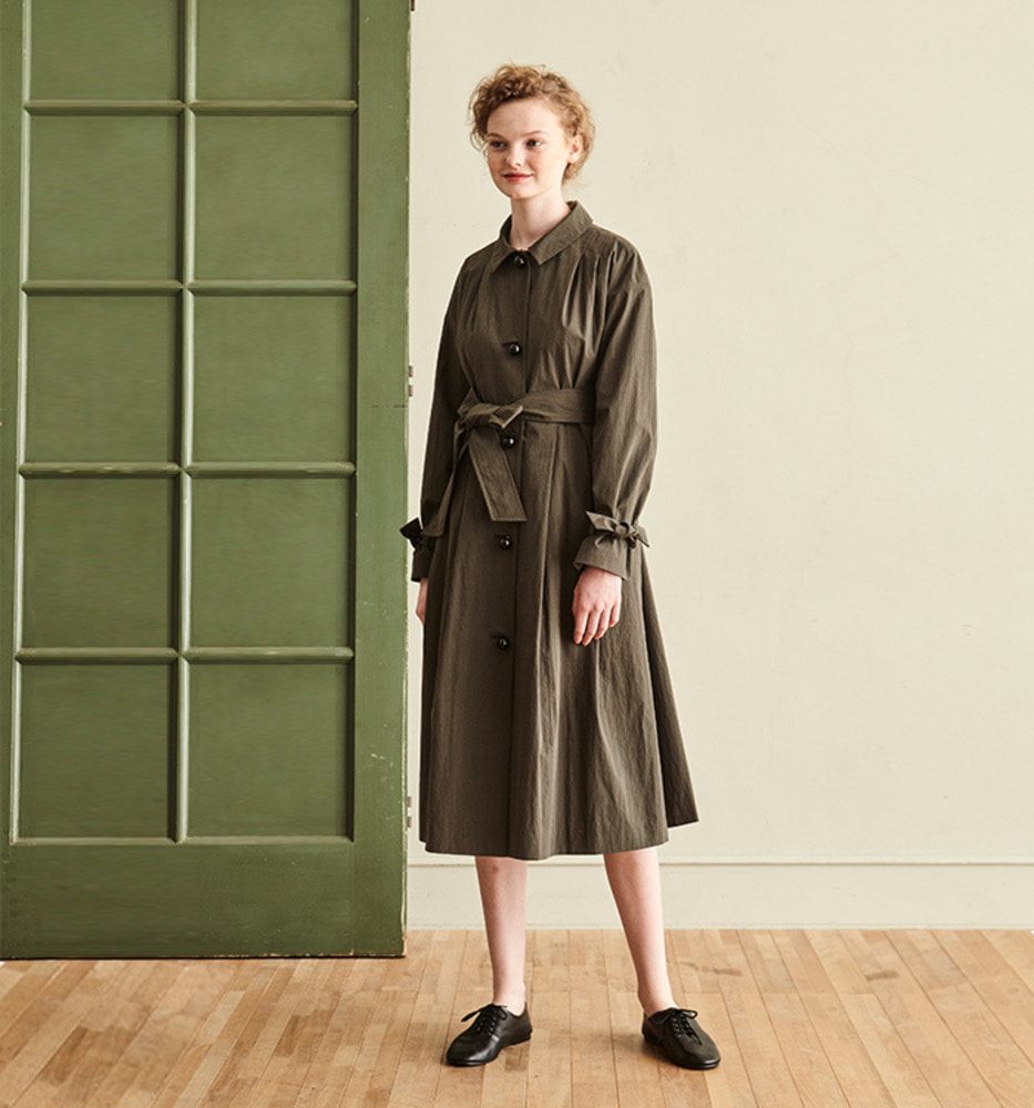 [Ready for SPRING]BLACK BALL BUTTON TRENCH COAT_KHAKI