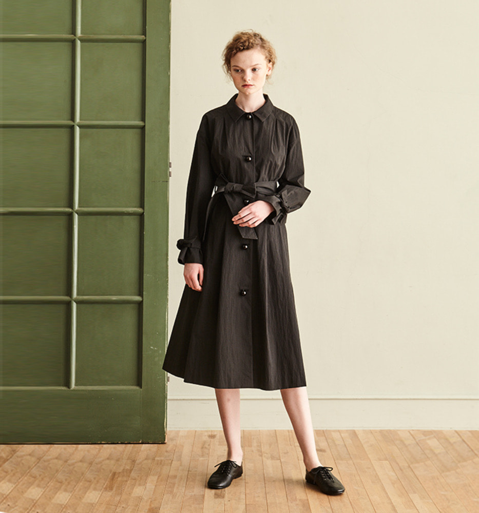 [Ready for SPRING]BLACK BALL BUTTON TRENCH COAT_BLACK