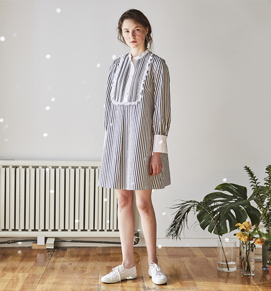 [Ready for SPRING]STRIPE SHIRT FRILL DRESS