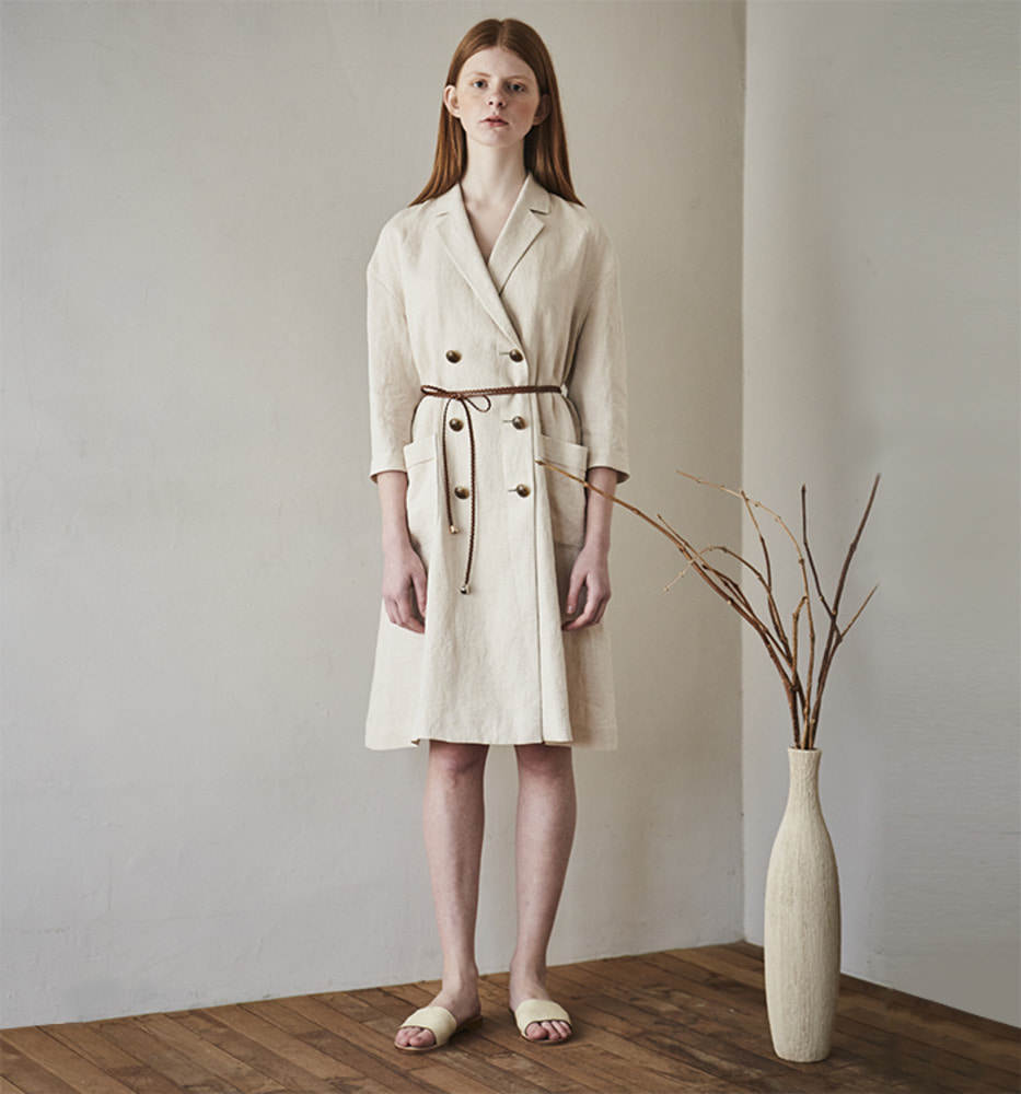 TRENCH LINEN ONEPIECE_Ivory