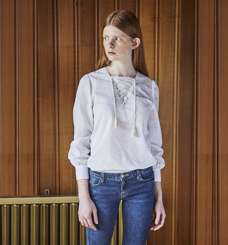 METAL ETHNIC BLOUSE_White