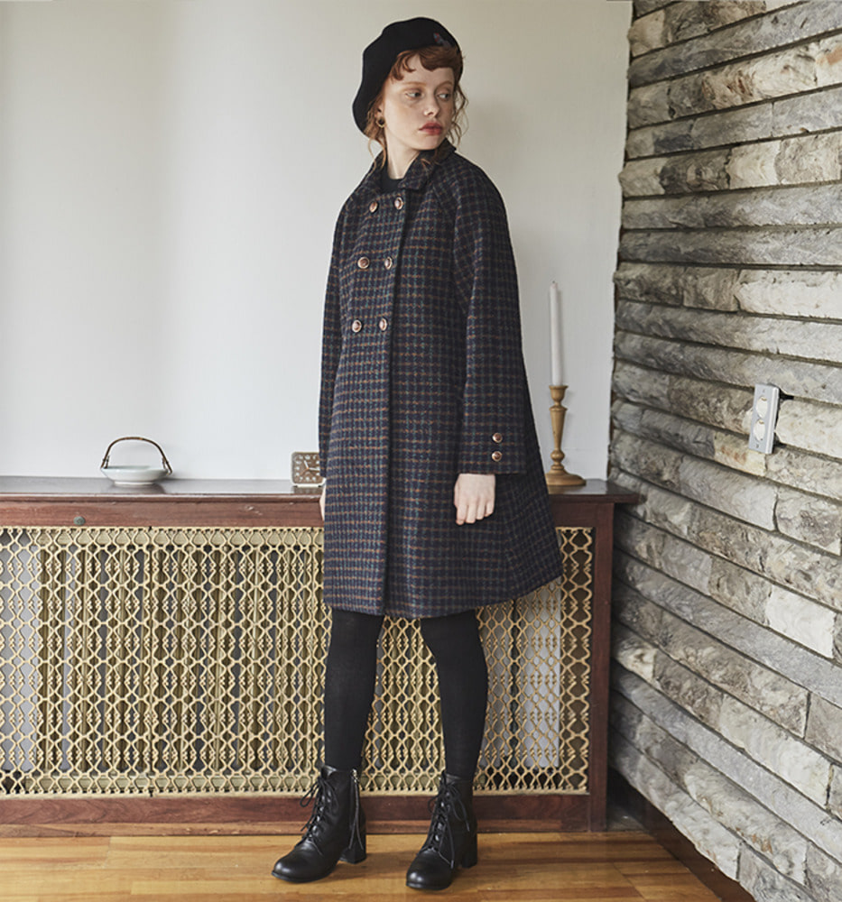 RAGLAN WOOL COAT_Check