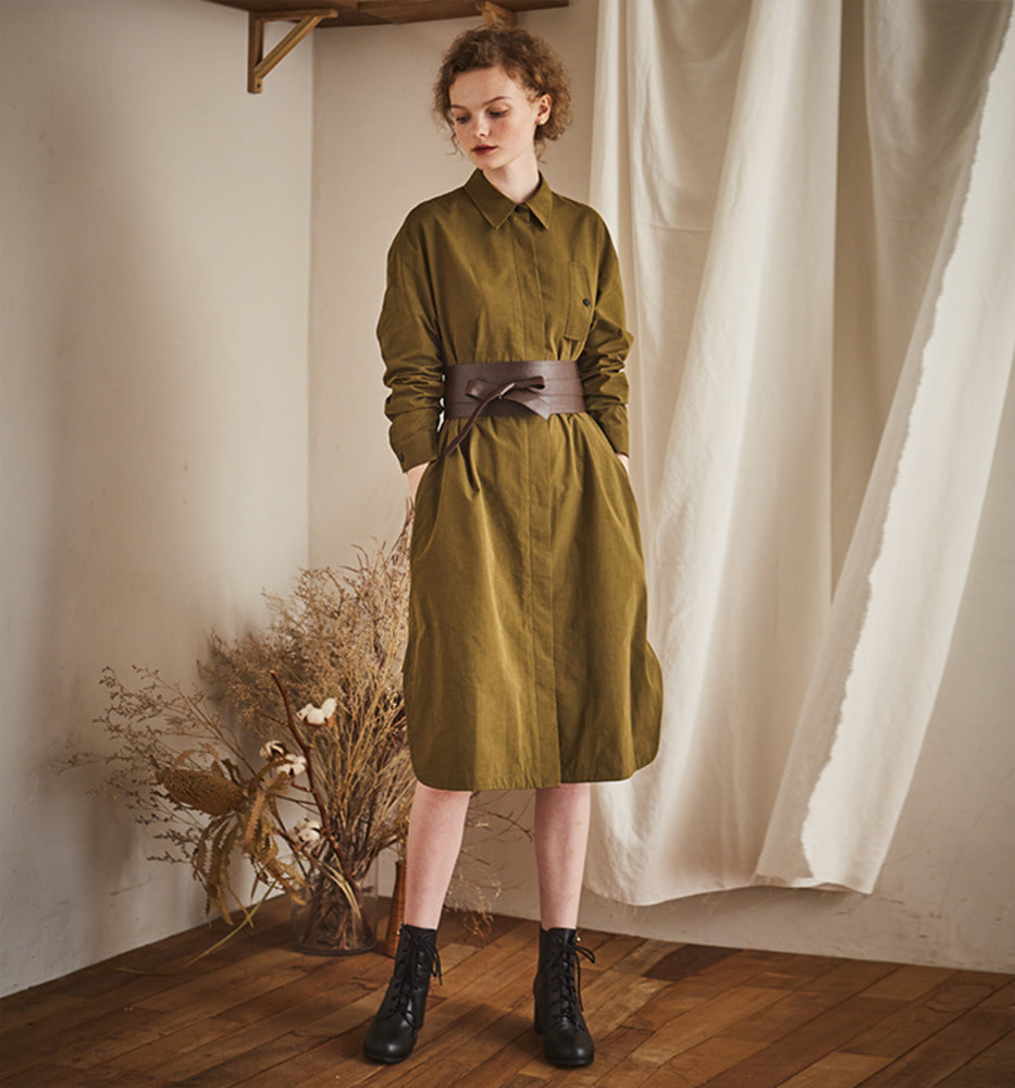FRONT POCKET LONG  DRESS_Khaki