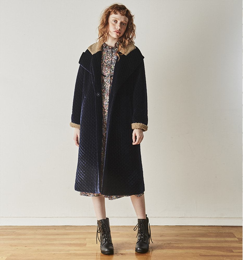FUR POINT PADDING COAT_Navy
