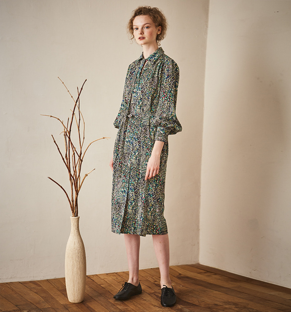 GEOMETRIC PATTERNS RETRO DRESS_Khaki