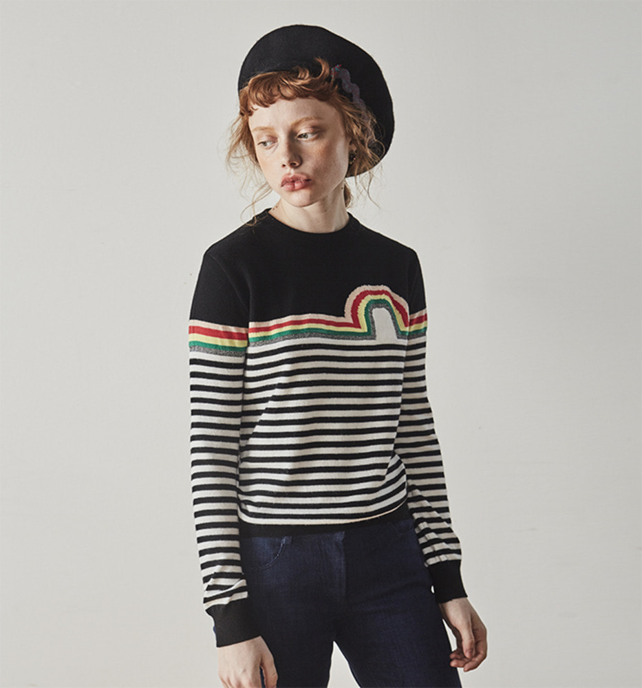 RAINBOW STRIPE KNIT_Black