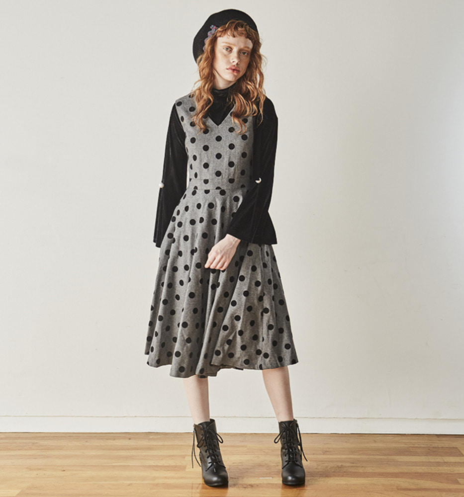 DOT POINT SLIM DRESS