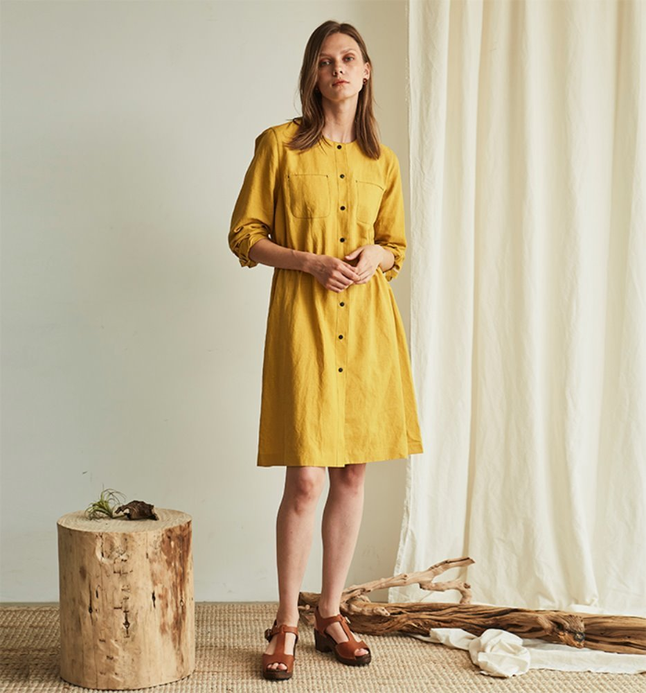 SIMPLE LINEN DRESS_YELLOW