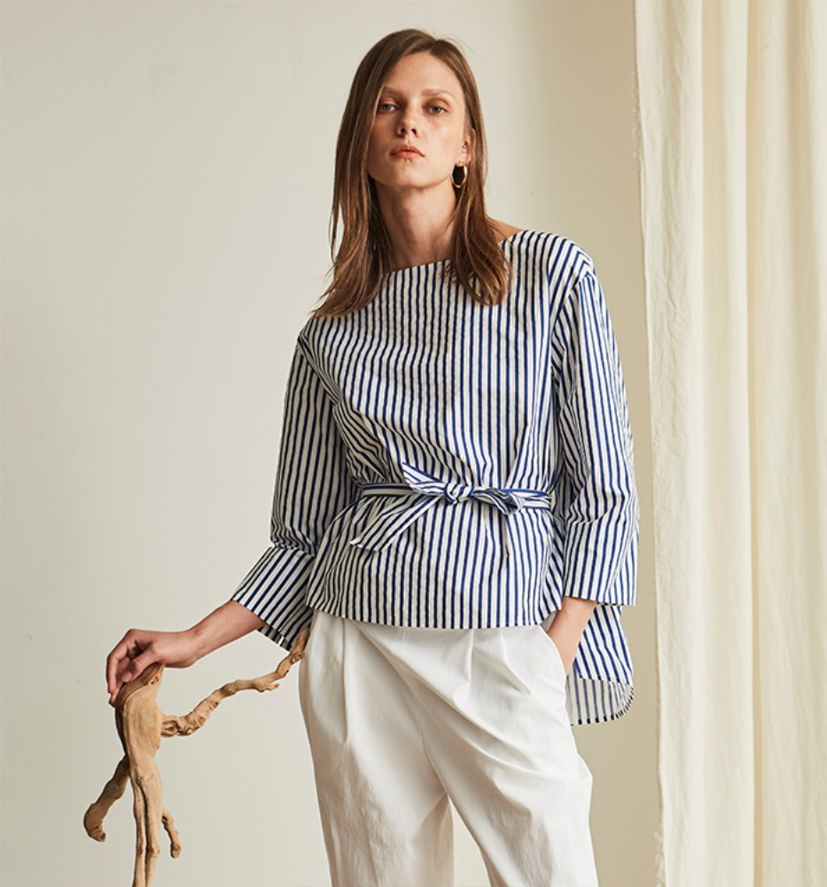 FRONT BELT POINT SHIRT_BLUE