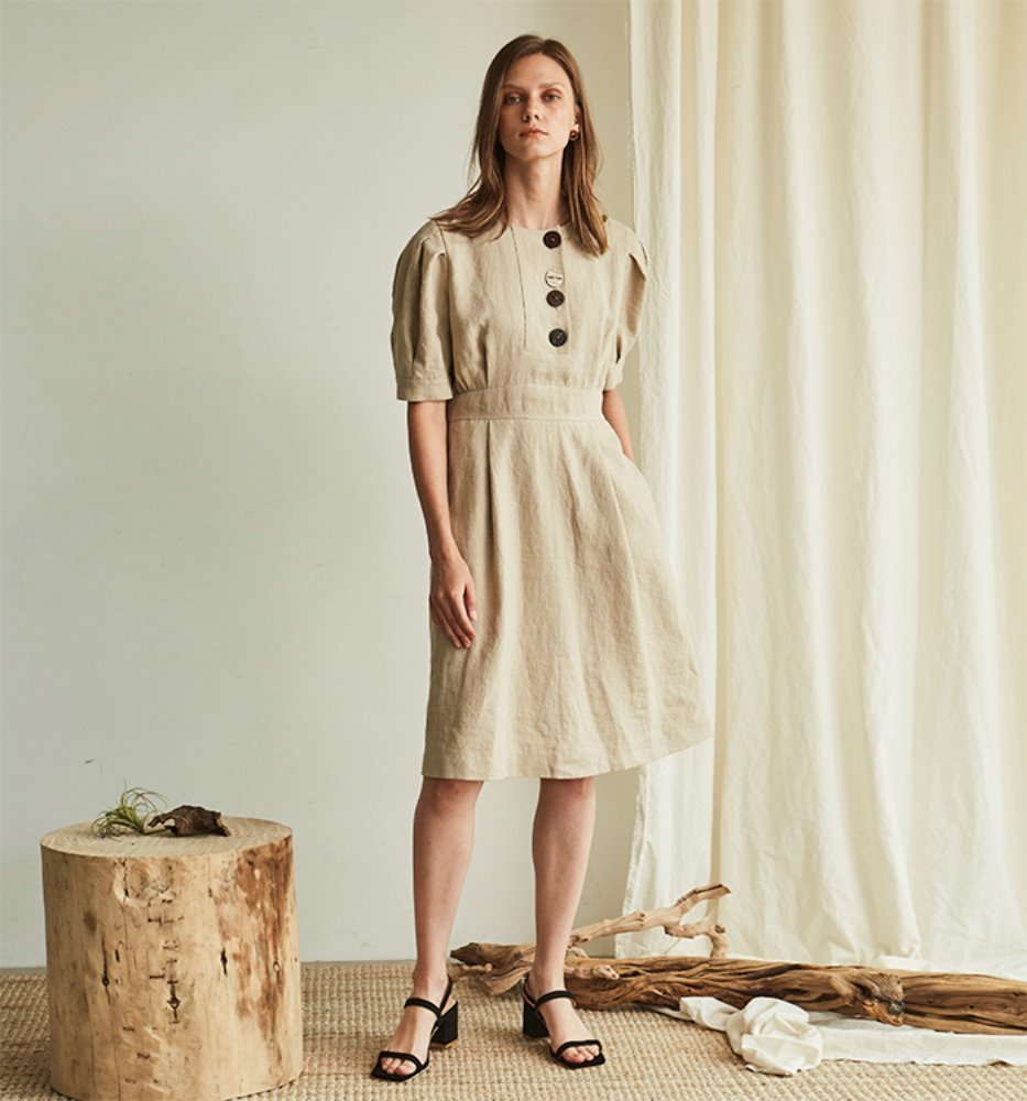 FRONT BUTTON LINEN DRESS