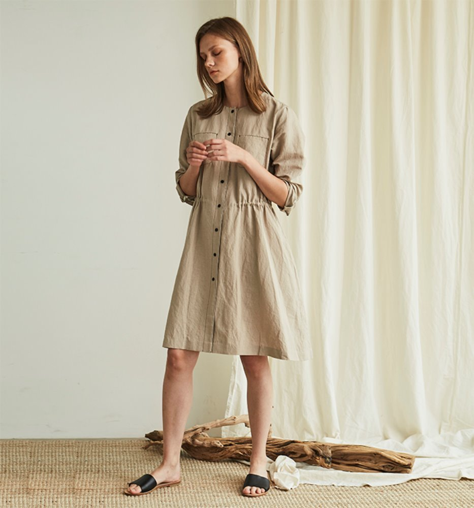 SIMPLE LINEN DRESS_BEIGE