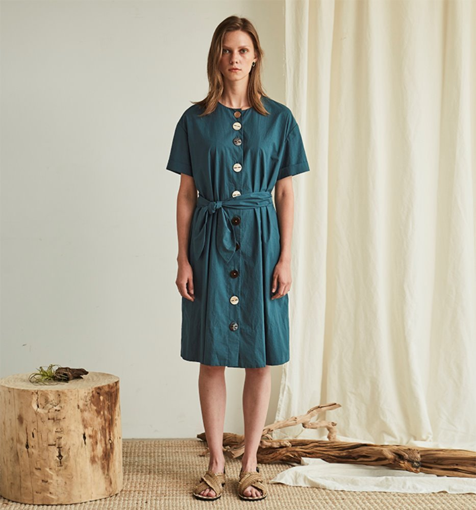 BUTTON POINT DRESS_GREEN