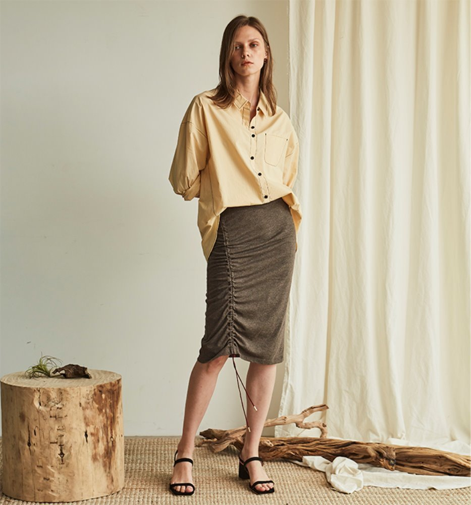 STRING BAND SKIRT_BROWN