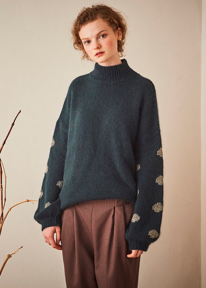 SLEEVE DOT PATTERN ANGORA KNIT_GREEN