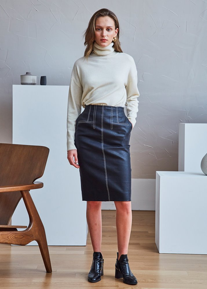 STITCH POINT COATED SKIRT
