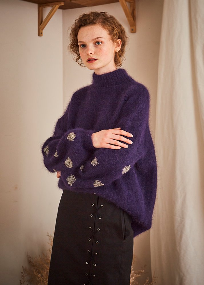SLEEVE DOT PATTERN ANGORA KNIT_PURPLE