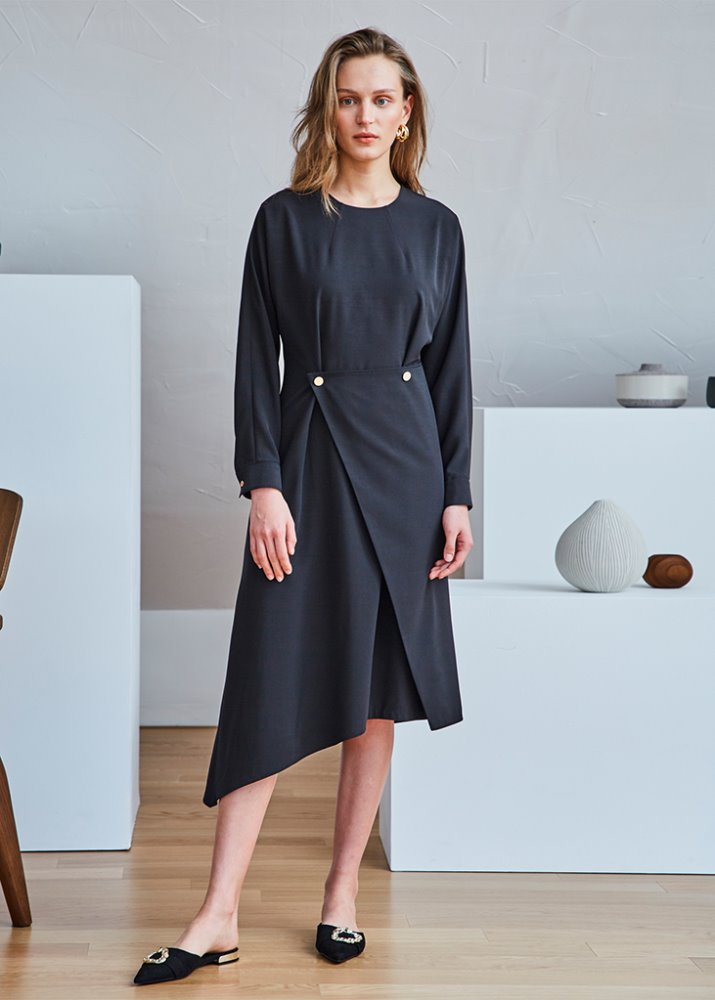 UNBALANCE WRAP DRESS_BLACK