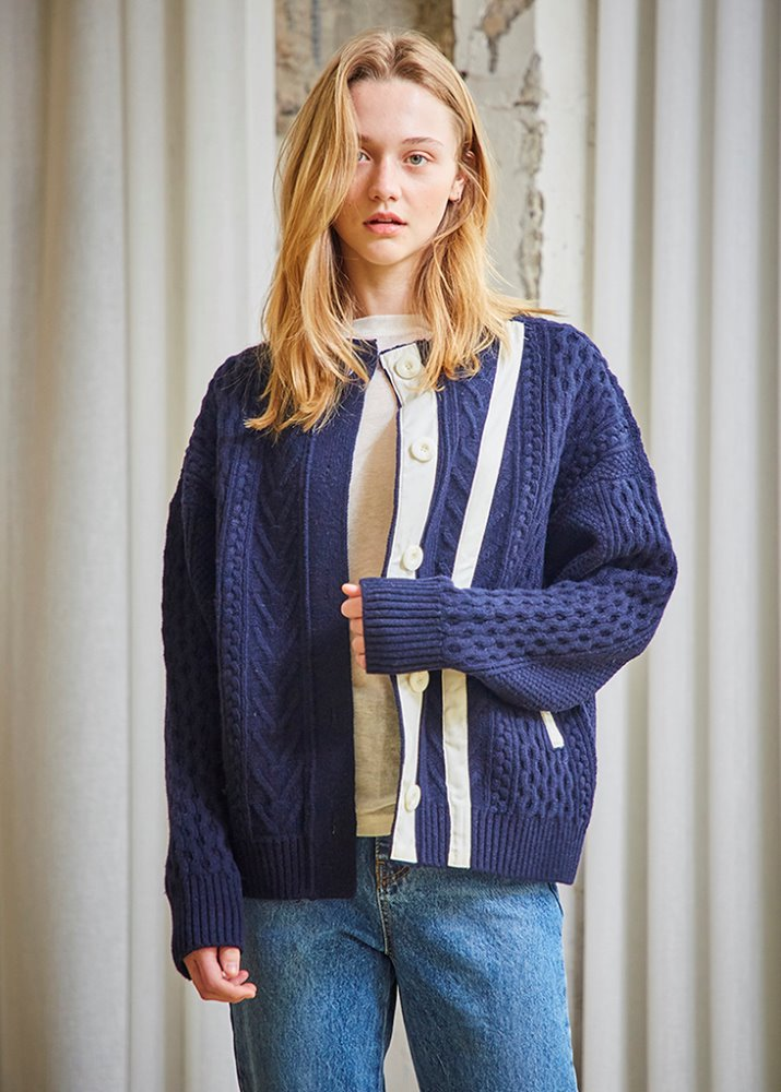 PATCH POINT CARDIGAN_NAVY