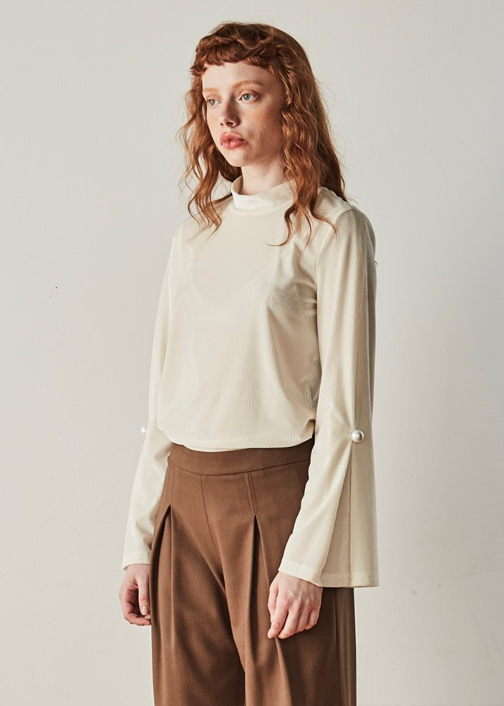 HIGH NECK VELVET TOP_WHITE
