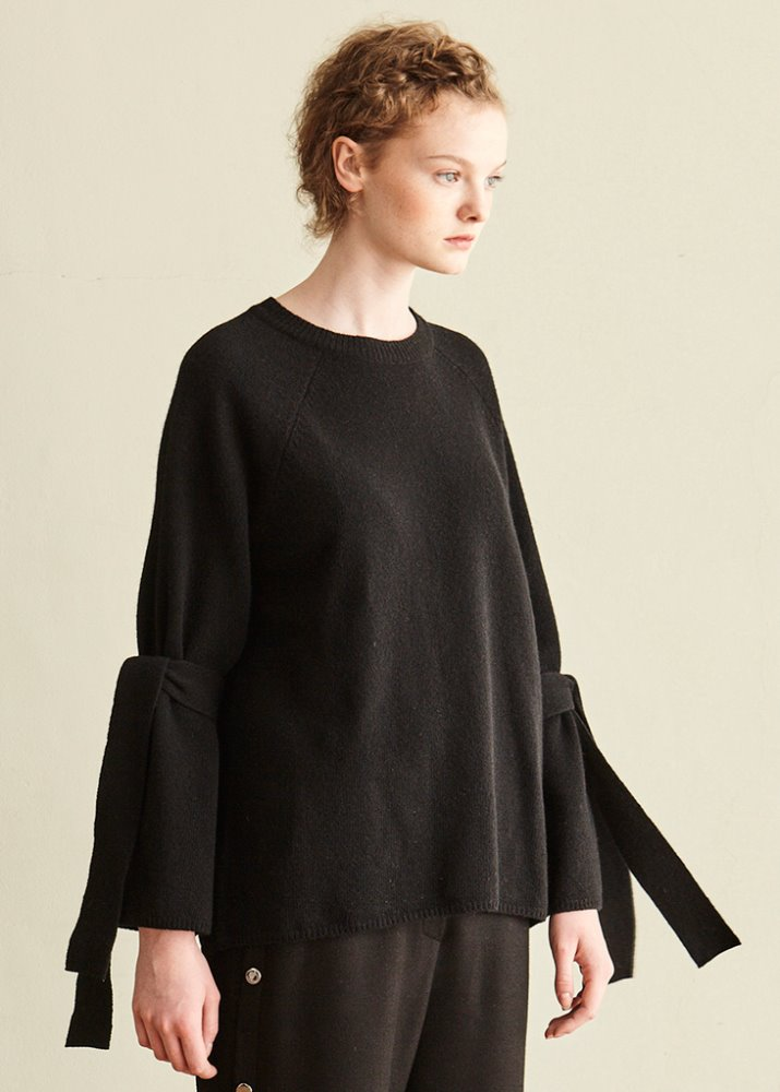BLACK BELL SLEEVE RIBBON KNIT_BLACK