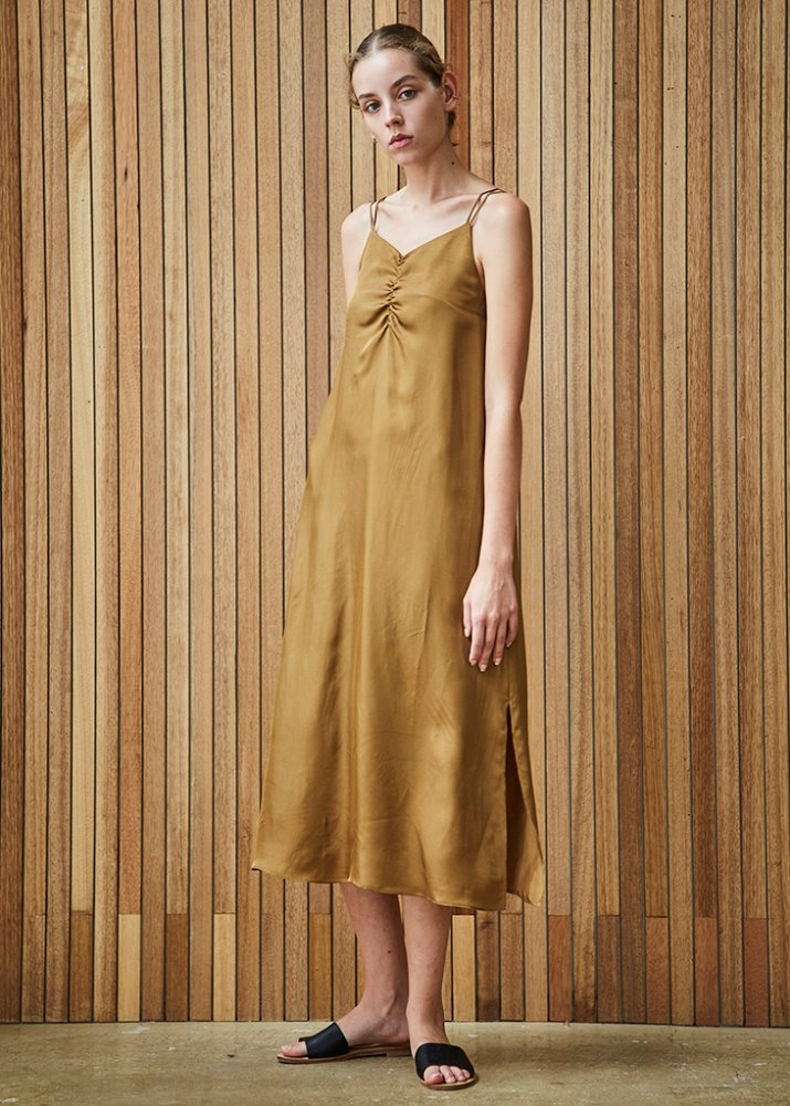 FEM SLIP DRESS_KHAKI