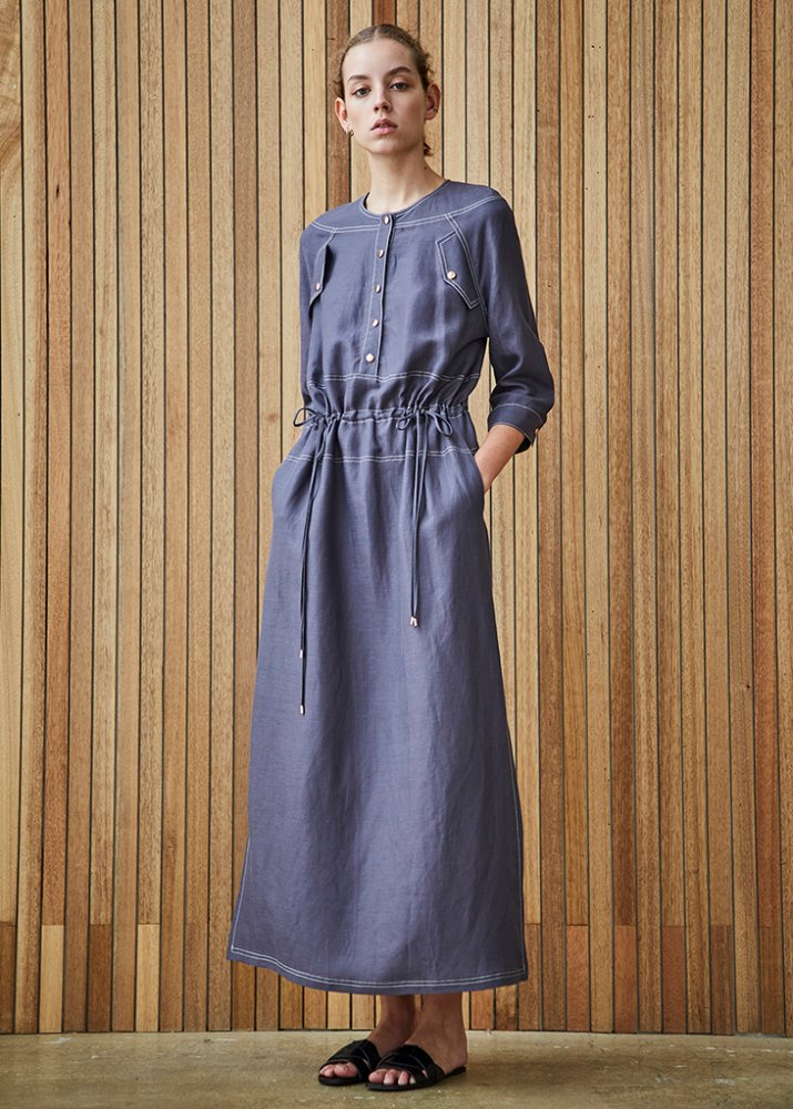 LINEN DRAWSTRING DRESS_BLUE