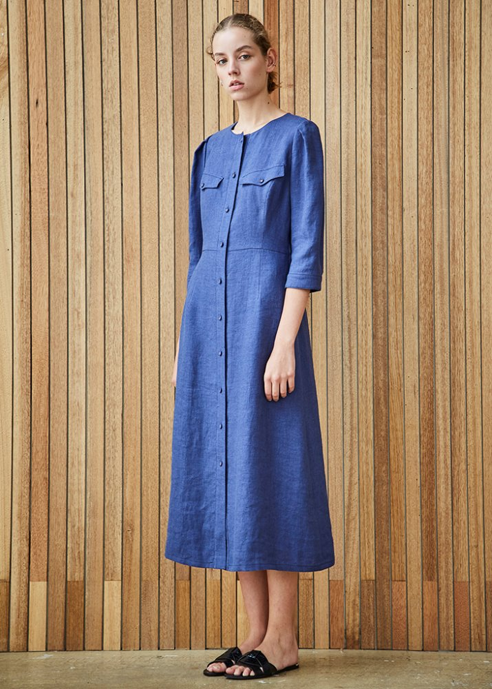 LINEN LADY DRESS_BLUE
