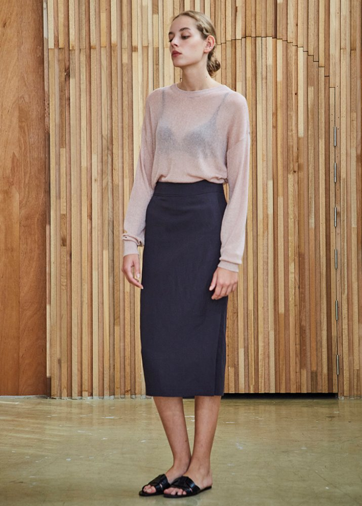 BASIC LINEN SKIRT_DARK PURPLE