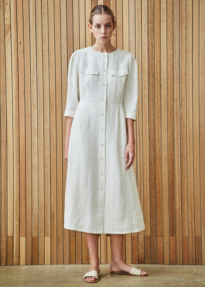 LINEN LADY DRESS_WHITE