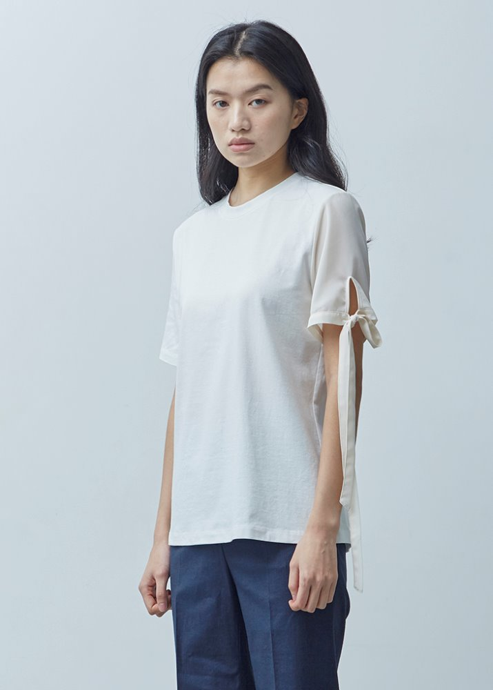 RIBBON SLEEVE TOP_WHITE