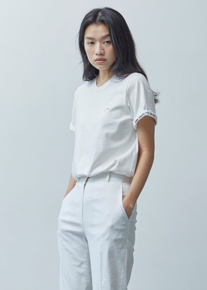 ROLL-UP SLEEVE TOP_WHITE