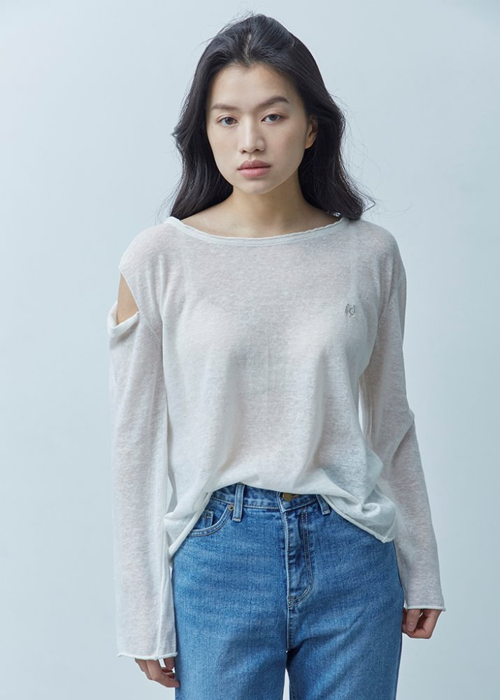 SLIT LINEN KNIT TOP_WHITE