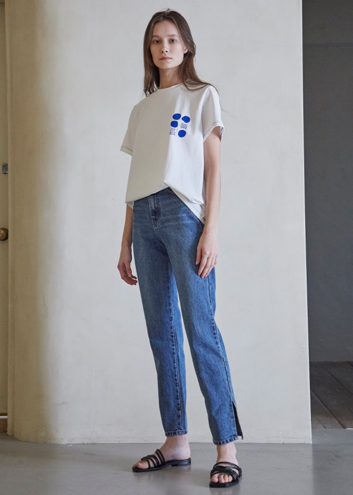 étoffe DOT PATTERN T-SHIRT_BLUE