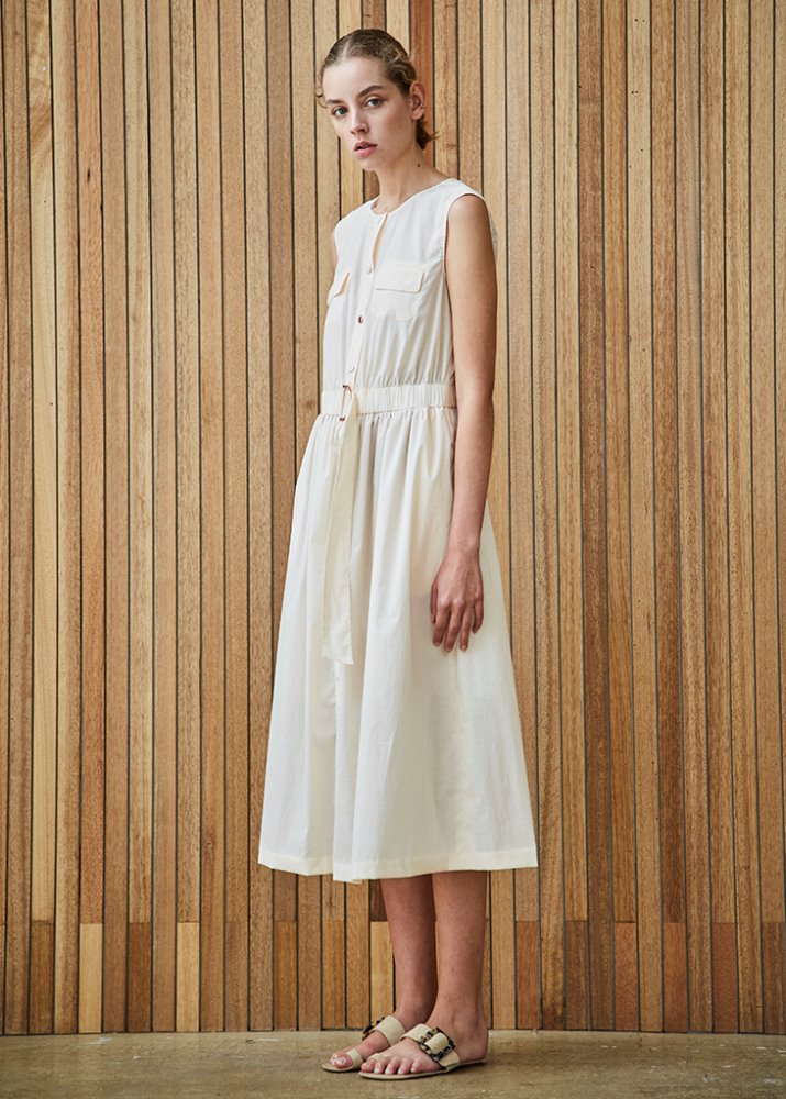 SLEEVELESS SHIRT DRESS_IVORY