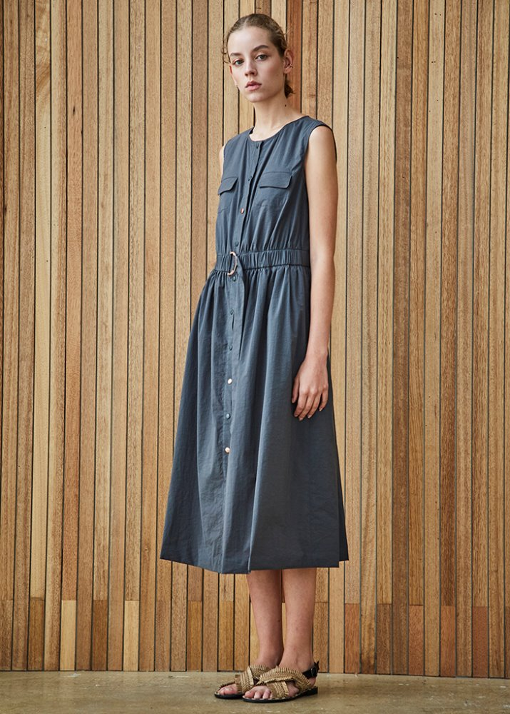 SLEEVELESS SHIRT DRESS_CHARCOAL