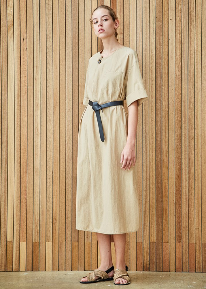 BELTED 1/2 SLEEVE DRESS_BEIGE